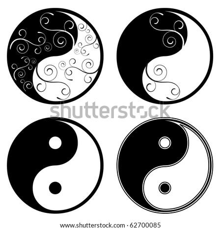 ying yang floral symbol - stock vector