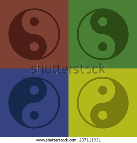 Ying-yang icon. 4 colors: red, green, dlue and yellow - stock vector