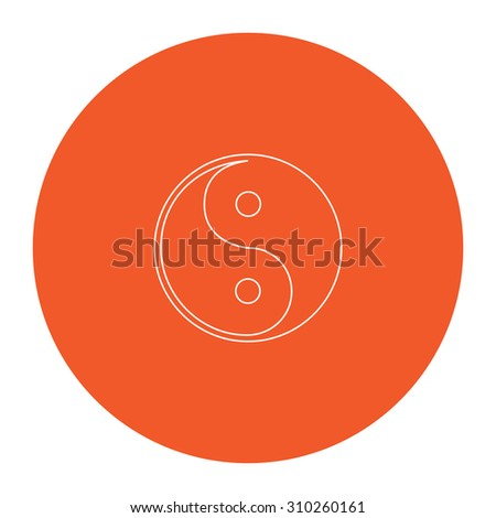 Ying-yang icon of harmony and balance. Flat outline white pictogram in the orange circle. Vector illustration icon - stock vector