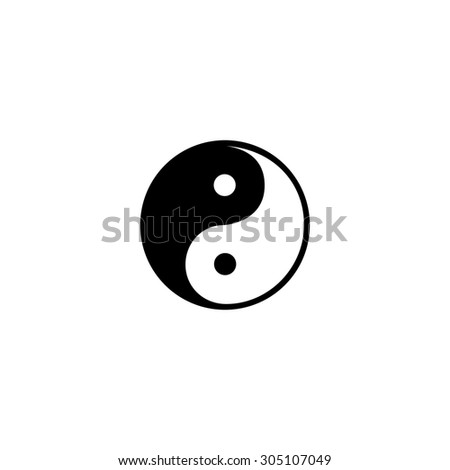 Ying-yang icon of harmony and balance. Flat web sign isolated on grey background. Collection modern trend concept design style vector illustration symbol - stock vector