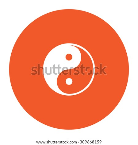 Ying-yang icon of harmony and balance. Flat white symbol in the orange circle. Vector illustration icon - stock vector