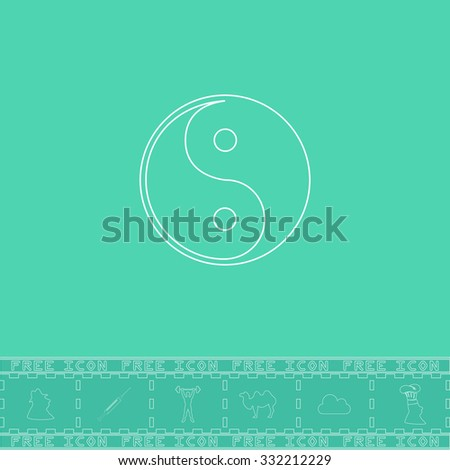 Ying-yang icon of harmony and balance. White outline flat symbol and bonus icon. Simple vector illustration pictogram on green background