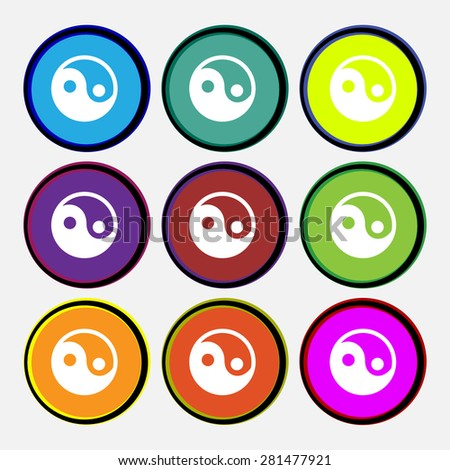 Ying yang  icon sign. Nine multi-colored round buttons. Vector illustration - stock vector