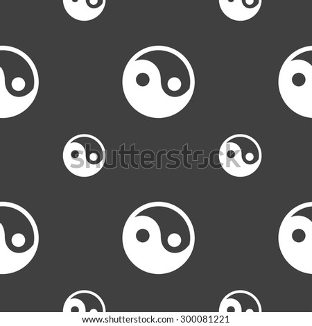 Ying yang icon sign. Seamless pattern on a gray background. Vector illustration - stock vector