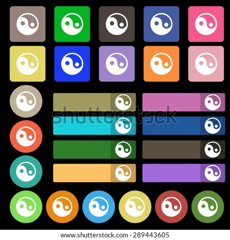 Ying yang  icon sign. Set from twenty seven multicolored flat buttons. Vector illustration - stock vector