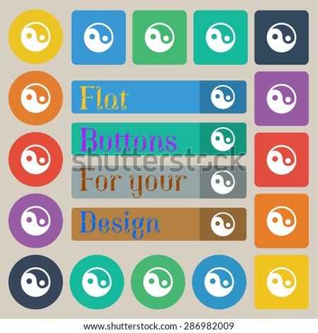 Ying yang  icon sign. Set of twenty colored flat, round, square and rectangular buttons. Vector illustration - stock vector