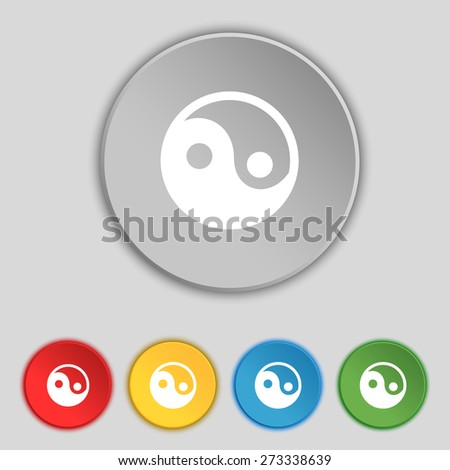 Ying yang icon sign. Symbol on five flat buttons. Vector illustration - stock vector