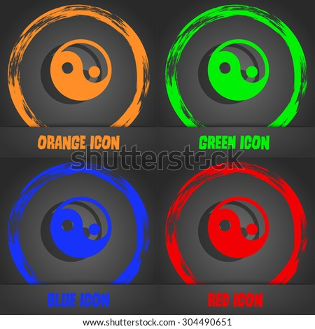 Ying yang  icon symbol. Fashionable modern style. In the orange, green, blue, green design. Vector illustration - stock vector