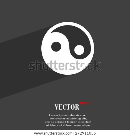 Ying yang  icon symbol Flat modern web design with long shadow and space for your text. Vector illustration - stock vector