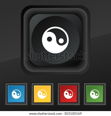 Ying yang  icon symbol. Set of five colorful, stylish buttons on black texture for your design. Vector illustration - stock vector
