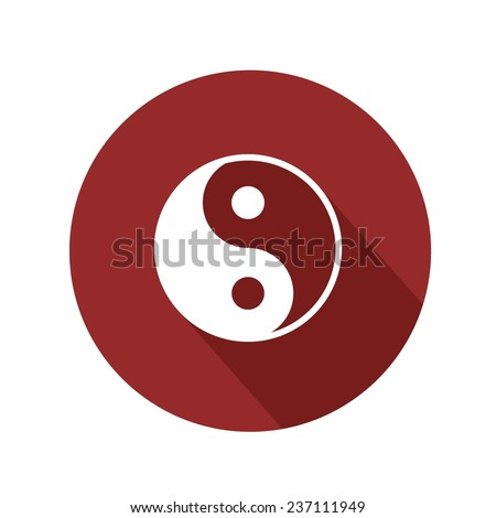 Ying-yang icon with shadow on white background - stock vector