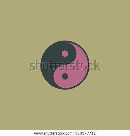 Ying-yang Retro dim color vector flat icon - stock vector