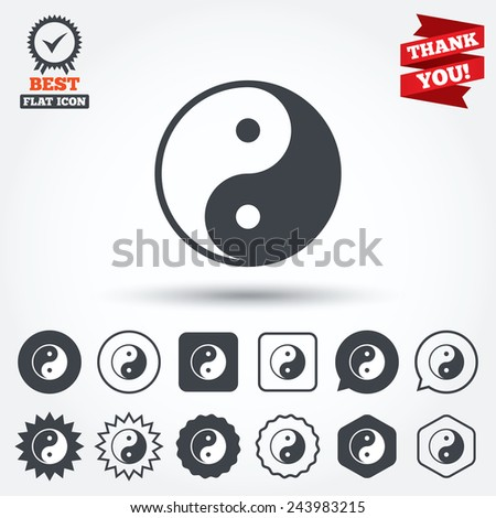 Ying yang sign icon. Harmony and balance symbol. Circle, star, speech bubble and square buttons. Award medal with check mark. Thank you. Vector - stock vector
