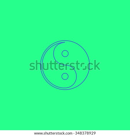 Ying-yang Simple outline vector icon on green background