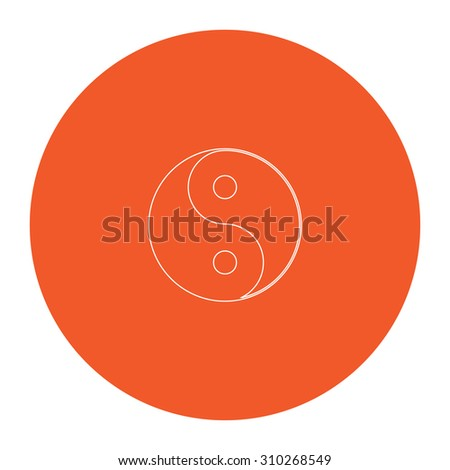 Ying yang symbol of harmony and balance. Flat outline white pictogram in the orange circle. Vector illustration icon - stock vector