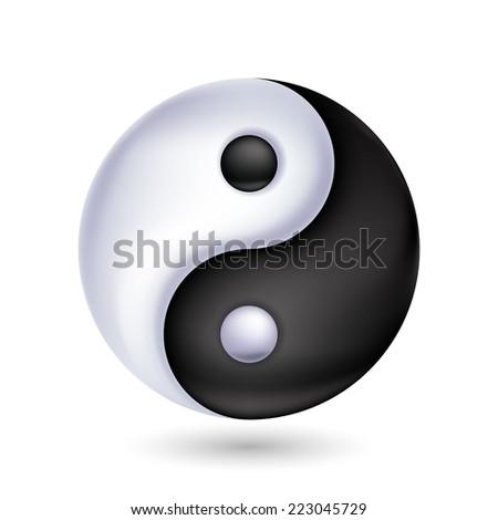 Ying-yang symbol of harmony and balance. Flat style. - stock vector