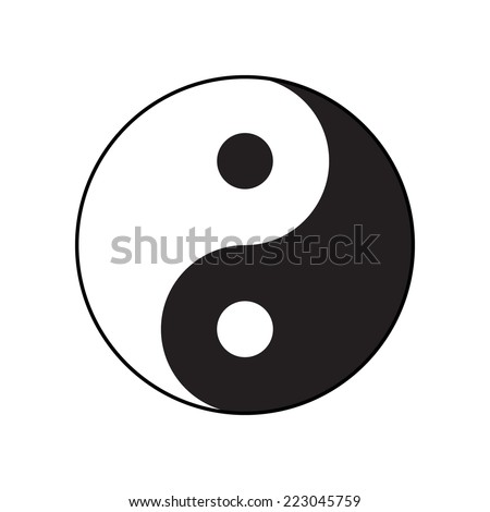 Ying-yang symbol of harmony and balance. Flat style. - stock vector