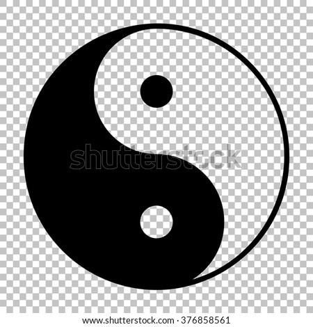 Ying yang symbol of harmony and balance. Flat style icon. Black on transparent background - stock vector