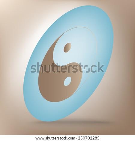 Ying yang symbol of harmony and balance icon  set. Isometric effect - stock vector