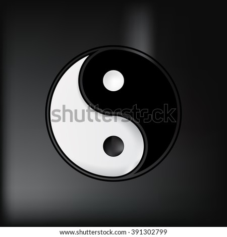Ying yang symbol of harmony and balance. Moon. Sacred geometry. Black background. - stock vector