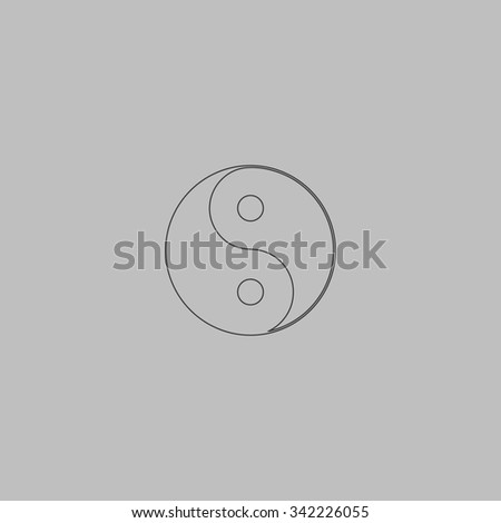 Ying yang symbol of harmony and balance. Outlne vector icon on grey background - stock vector