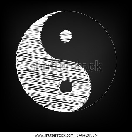 Ying yang symbol of harmony and balance with chalk effect  - stock vector