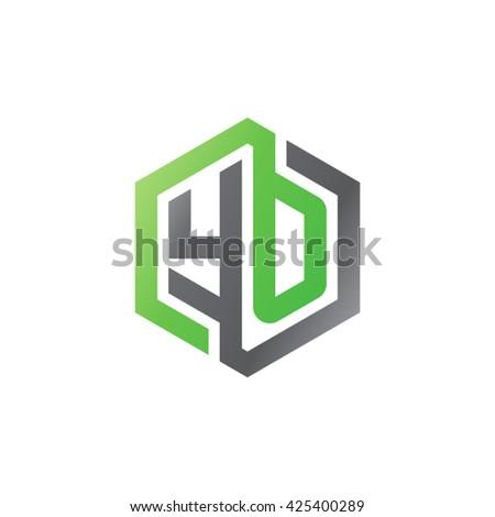 YO initial letters looping linked hexagon logo black gray green - stock vector
