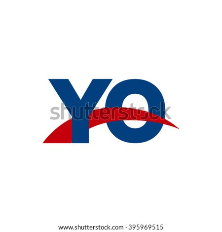 YO initial overlapping swoosh letter logo blue red - stock vector