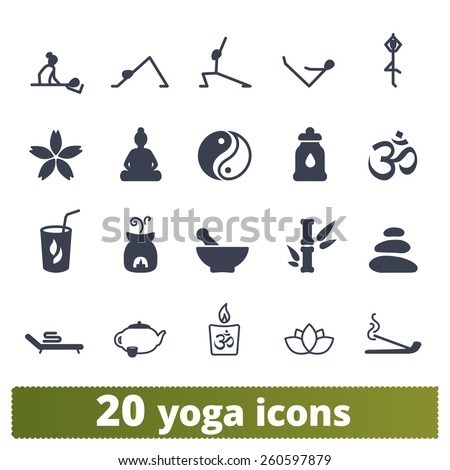 Yoga and meditation icons: vector set of wellness exercise, stretching people and zen signs. - stock vector