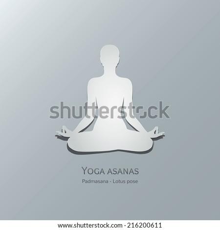 Yoga asanas. Padmasana. Lotus pose. Cut-out paper Design - stock vector
