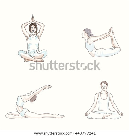 Yoga Asanas Vector Drawing Of The Hand Set