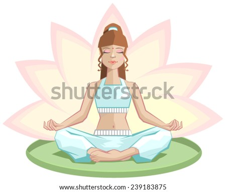 Yoga. Beautiful girl meditating in lotus position. Illustration in vector format - stock vector