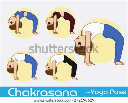 Yoga Cartoon Vector Poses - Chakrasana - stock vector