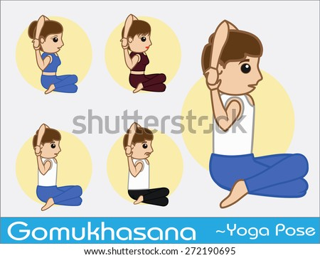 Yoga Cartoon Vector Poses - Gomukhasana - stock vector
