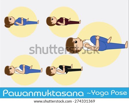 Yoga Cartoon Vector Poses - Pawanmuktasana - stock vector