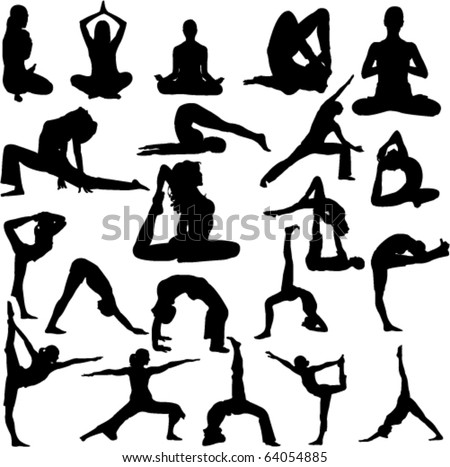 yoga collection 1 vector - stock vector