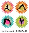 Yoga Colorful Silhouette Set - stock vector