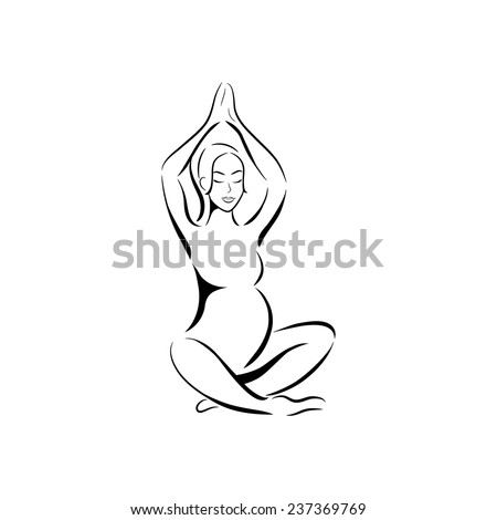 Yoga for pregnant woman. Silhouette of the pregnant woman on white background. Vector illustration.  - stock vector