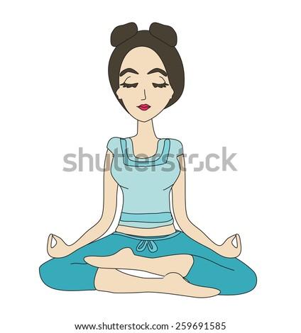Yoga girl in lotus position  - stock vector