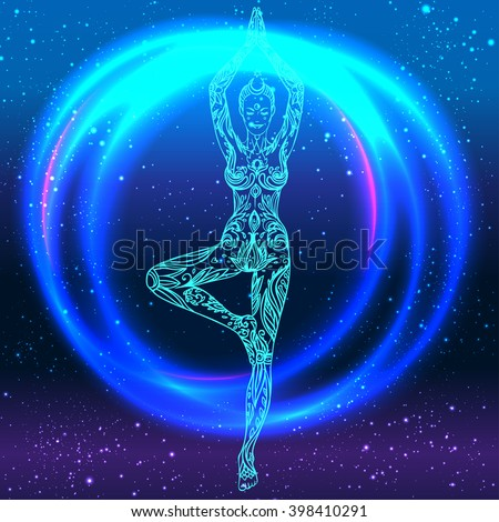 Yoga girl over colorful neon vibrant background. Vector illustration. Vintage decorative composition. Indian, Buddhism, Spiritual motifs. Tattoo, yoga, spirituality.  Futuristic vector in 1990s style.