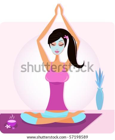 Yoga girl with facial mask practicing yoga asana