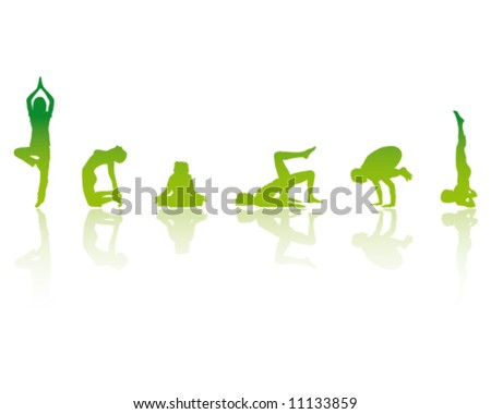 YOGA Girls Vector Illustration - stock vector