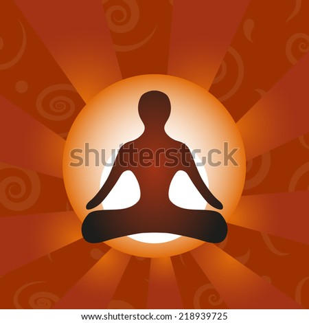 yoga icon on orange background, vector illustration - stock vector