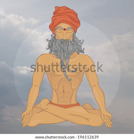 yoga in clouds. old Hindu man - stock vector