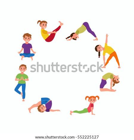 Yoga Kids Poses Set Cute Cartoon Gymnastics For Children And Healthy Lifestyle Sport Illustration