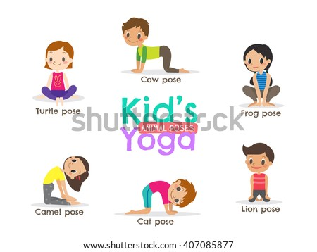 yoga kids poses vector cartoon illustration stock vector