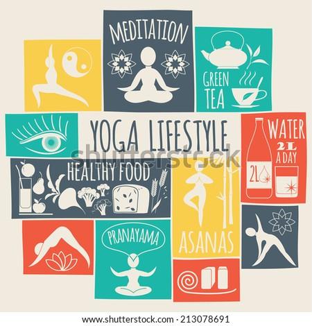 yoga lifestyle Icons set  - stock vector