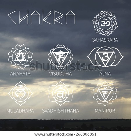 Yoga logos (background the clouds, the sun's rays) - stock vector