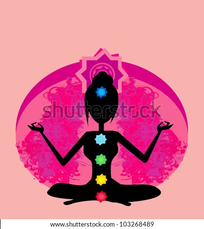Yoga lotus pose. Padmasana with colored chakra points. - stock vector