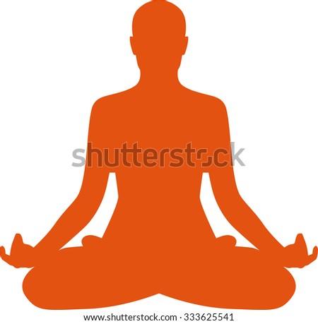 Yoga lotus pose silhouette - stock vector